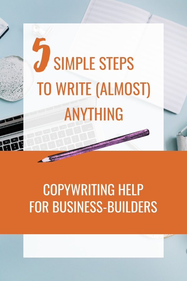 Get content writing tips from a professional digital copywriter. These 5 simple steps will help you write almost anything. Whatever online marketing you're doing for your small business - emails, social media, blog posts, or even writing your own website content, this tutorial will help. Packed with writing tips, plus free printable download (no email required).