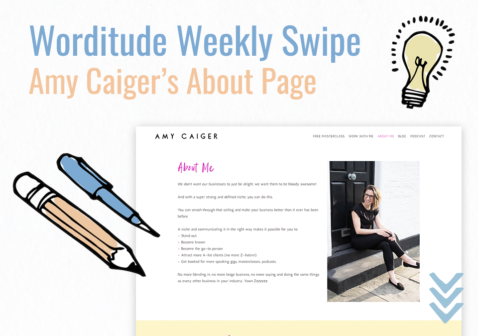 Weekly Swipe – Amy Caiger's About Page