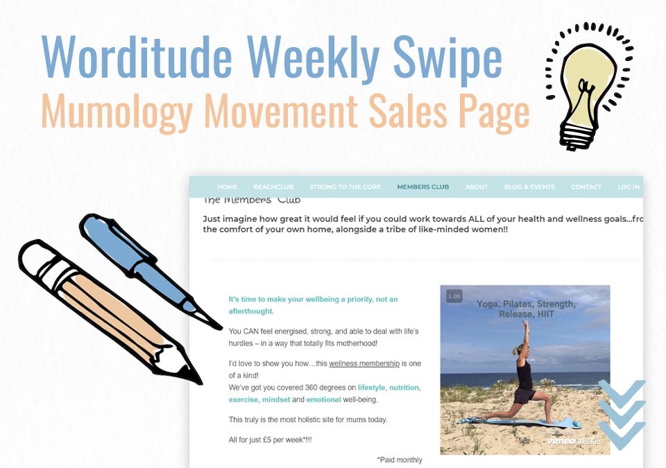 Weekly Swipe – Mumology Movement Sales Page