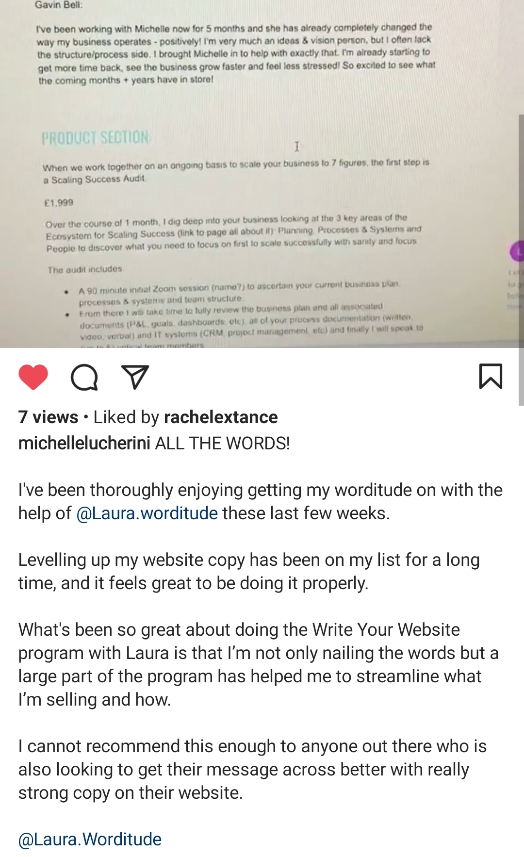 Testimonial from Michelle Lucherini - What's been so great about doing the Write Your Website program with Laura is that I'm not only nailing the words but a large part of the program has helped me to streamline what I'm selling and how.